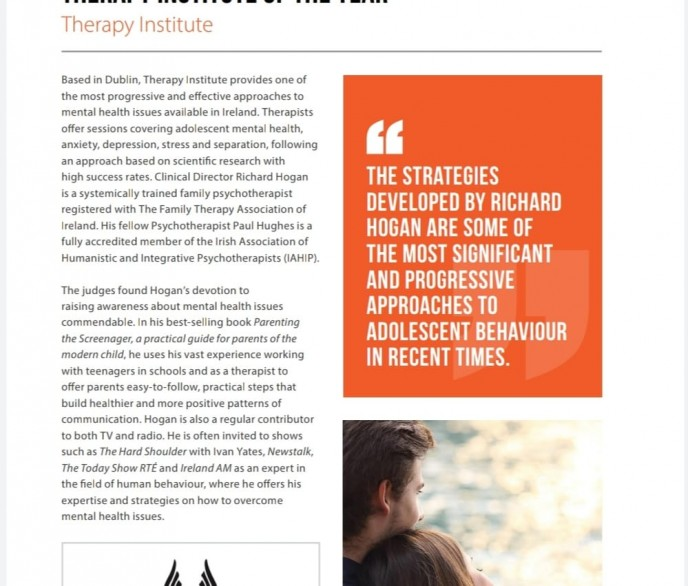 THERAPY INSTITUTE OF THE YEAR – PRESTIGE AWARDS